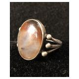 Silver Ring with Agate Stone - Sz 8.5