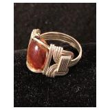 Silver Artisan Ring with Agate Stone- Size 8