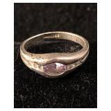 .925 Silver Amethyst Ring - Size 7