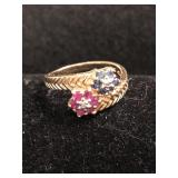 .925 Silver/GP Ring with Ruby and Sapphires - 6.75