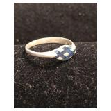 .925 Silver Ring with Inlay Design - Size 7
