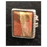 .925 Silver Artisan Made Ring with Agate-Sz 8