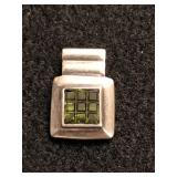 .925 Silver Pendant with Green Square Stones