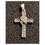 .925 Silver Cross with Marcasite Stones