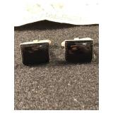 .925 Silver Cuff Links with Black Onyx Stones
