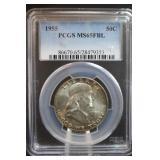 1955 MS65 FBL Franklin Silver Half Dollar