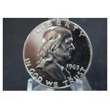 1963 Silver Franklin Proof Half Dollar Awesome