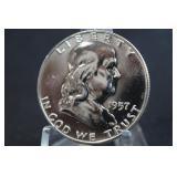 1957 Franklin Half Dollar FBL Silver Proof