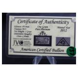 1 Gram .999 Pure Platinum Bar Certified