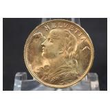 1949 Switzerland Gold 20 Franc