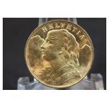 1935 Switzerland Gold 20 Franc