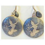 .925 Silver Mid-Century Siam Earrings  O-