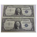 1957 Silver Certificates; 2 running serial numbers