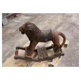 """Carved rocking lion; Approx 12""""-14"""" long"""