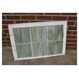 "Slag glass church window 28"" x 19"""