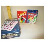 Uno, Phase 10, Dominoes