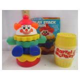 Vintage Play Stack Clown & Barrel of Monkey