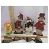 Brass Bells, Penguin, Snowman Candle, & Duck