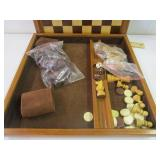 Wooden chest & checker board game