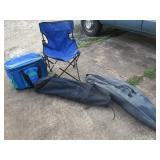 Chairs in a bag and soft cooler great for river