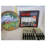 Ginsu 2000 10 piece knive set & metal serving tray