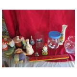 Glass lot & more; bells, vases, clown, beer mug