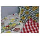 Vintage table cloths; great look