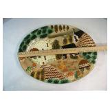 Decorated farm scene platter,  pasta bowl, &