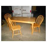 Wood dining table and 3 chairs