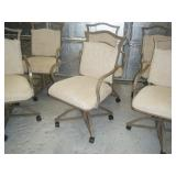 Set of 6 beautiful rolling iron chairs w/ cushion