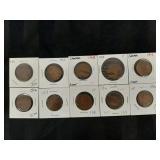 Set of King George V Large Cents 1911 - 1920