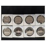 8 Voyager Dollars from Proof sets 1975-1986