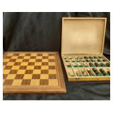 Wood Chess Board & Wood box w/ Chess Pieces
