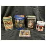 Collector tins and wine playing cards