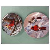 Pair of cardinal decorative plates