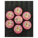 7 Barbie pink Buttons / Pins