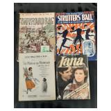 3 Early Sheet Music books + 80s Fashion Mag.