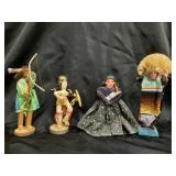 4 Native American dolls