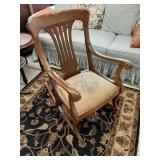 Antique Maple Rocking Chair w/ Embroidered cushion