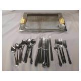 Beautiful metal tray with silverware