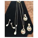 2 costume jewellery sets necklaces and earrings