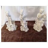 3 ceramic Asian men figurines