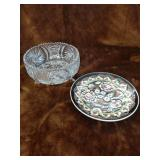 Pinwheel Crystal 3 footed bowl and a plate