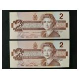 Two 1986 Canadian $2 bills consecutive numbers