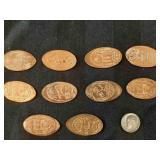 10 Elongated usa pennies + 1967 usa dime