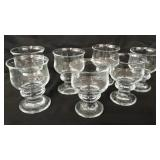 7x beautiful glass goblets made in Denmark.