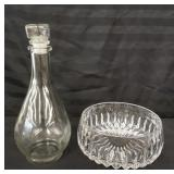 Glass decanter and salad bowl.