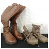 Two pairs of stylish winter boots.
