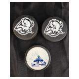 Two Buffalo Sabres Pucks & Wayne Gretzky Puck