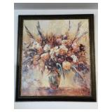 Beautiful large floral framed picture.